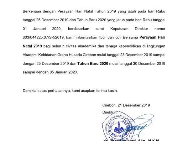 Libur Hari Natal 2019 dan Tahun Baru 2020